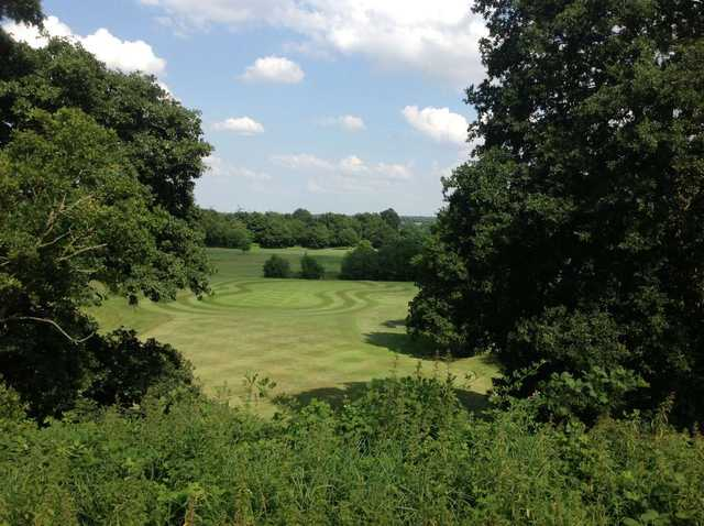Looking down onto the green at Stoneleigh Deer Park Golf Club