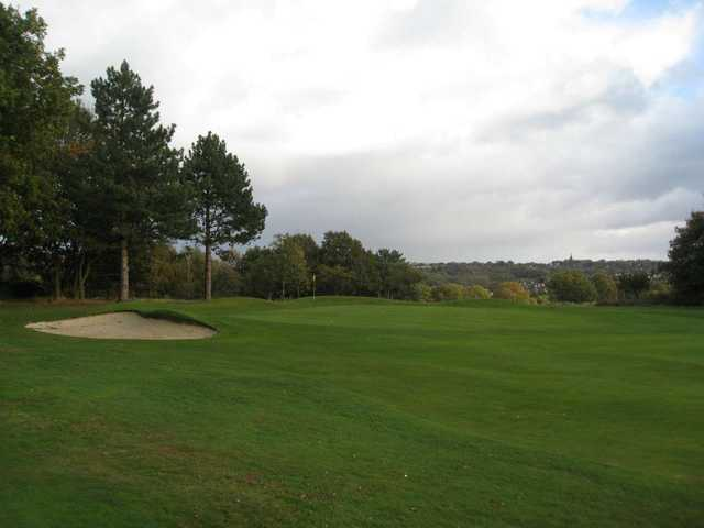 The green and greenside bunker at  Penn Golf Club