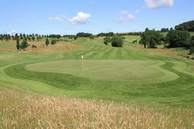 Looking back from a green at Dunmurry Springs Golf Club