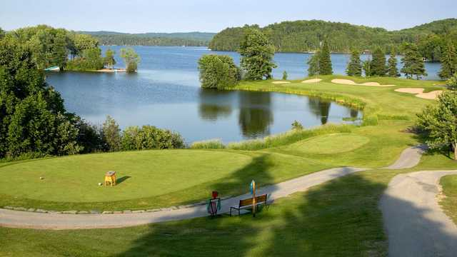 A view of a tee at Deerhurst Lakeside from Deerhurst Highlands Golf Course