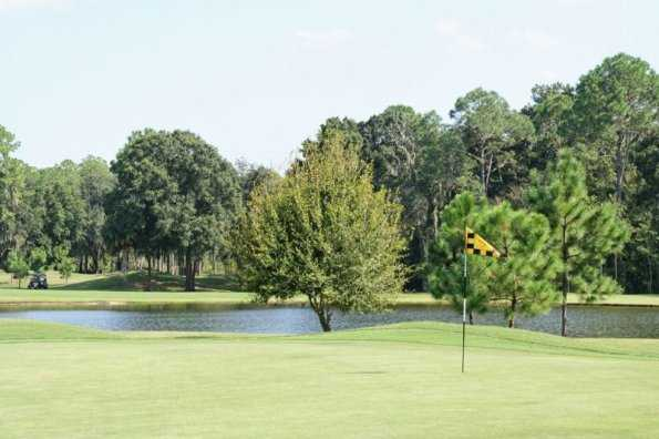A view of a green with water in background at Schalamar Creek Golf Club