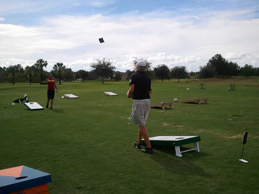 A view of the practice area at Plantation Palms Golf Club
