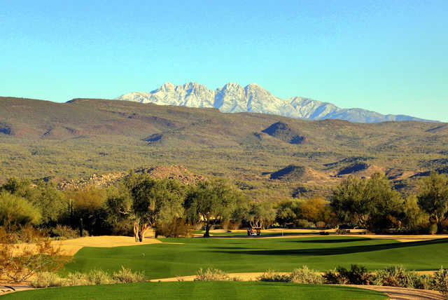 View of the 17th green from the Peaks course at Tonto Verde Golf Club
