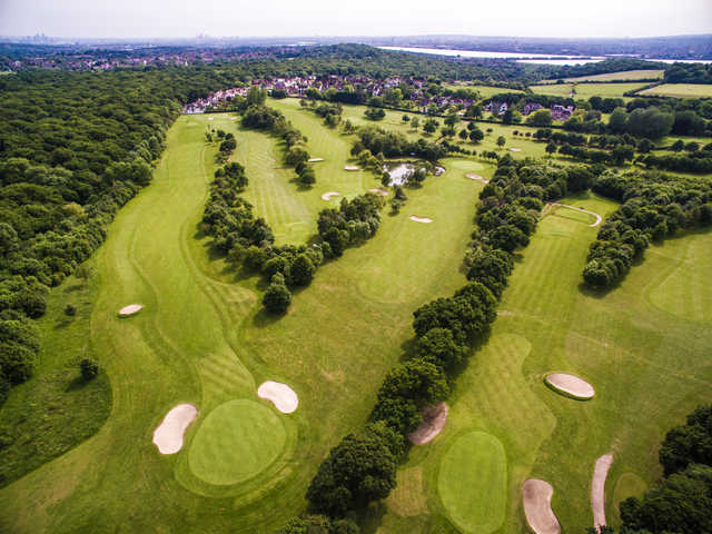Aerial view of the 13th and 15th hole  from West Essex Golf Club
