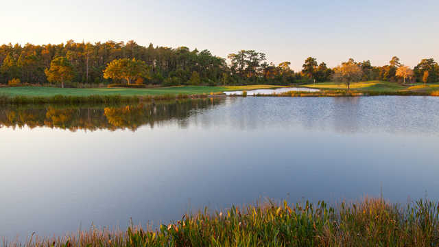 View of a green over water at Shingle Creek Golf Club