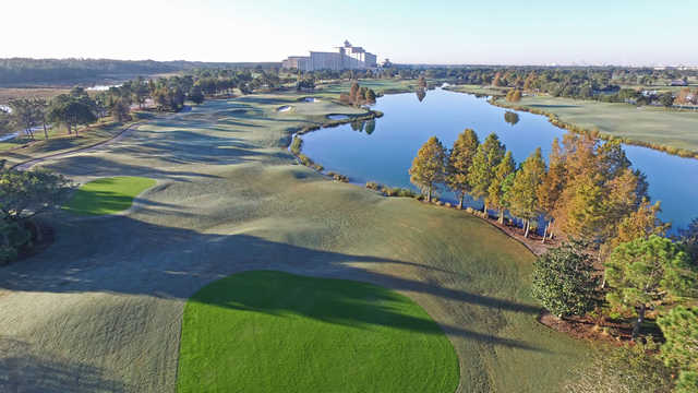 Aerial view of the 17th hole from Shingle Creek Golf Club