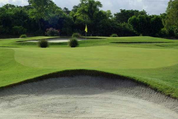 A view of green with bunker in foreground at Miami Shores Country Club