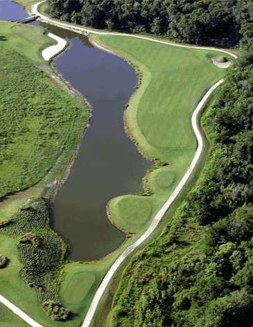 Aerial view of the 6ht hole at Indian River Preserve Golf Club