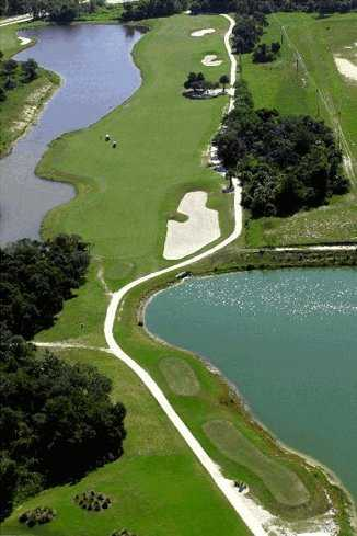 Aerial view of the 9th green at Indian River Preserve Golf Club