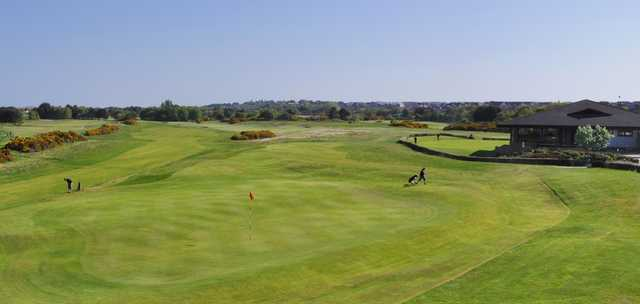 View of the 18th hole at Nairn Dunbar Golf Club