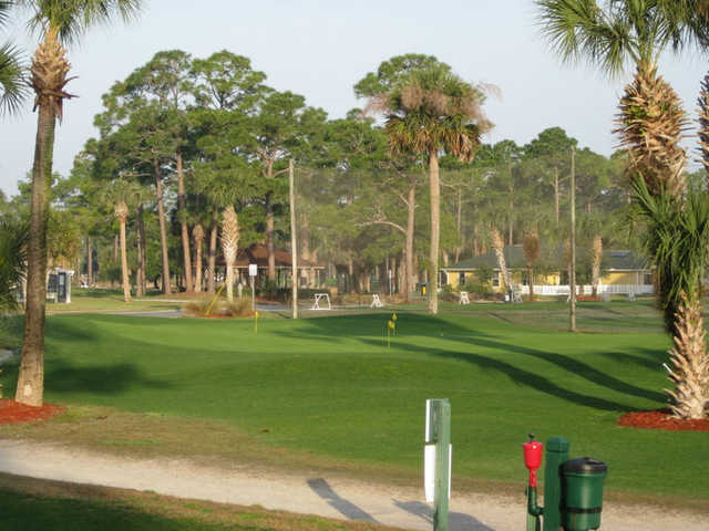 A view of the chipping & driving range at Hidden Lakes Golf Course