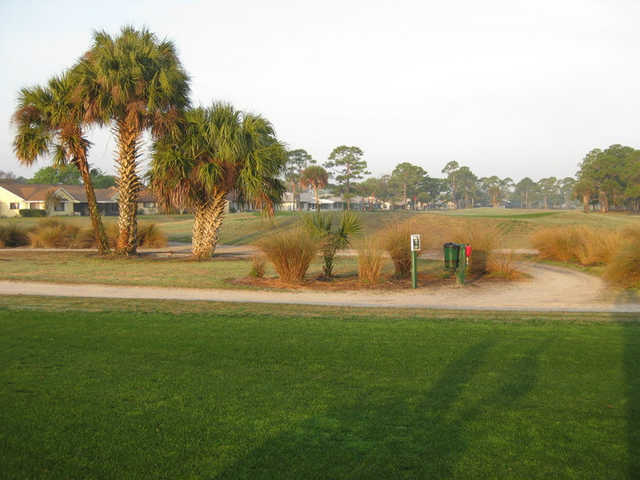 A view of green #7 from the 8th tee at Hidden Lakes Golf Course