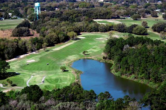 Aerial view of hole #4 at Country Club of Silver Springs Shores