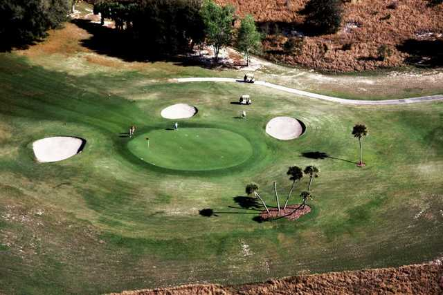 Aerial view of green #1 at Country Club of Silver Springs Shores