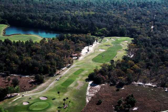Aerial view of the 2nd green at Country Club of Silver Springs Shores