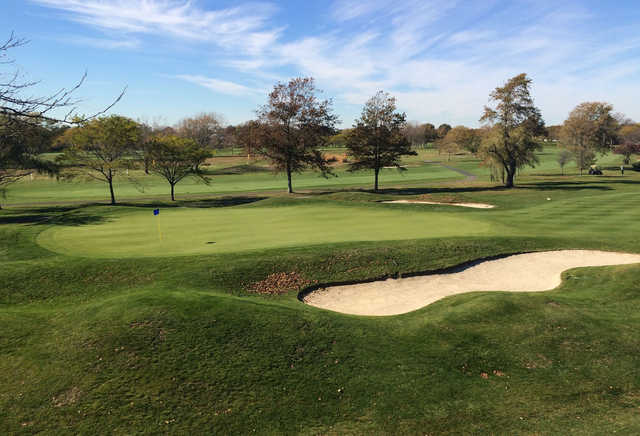 A view of a well protected green at The Golf Club at Middle Bay.