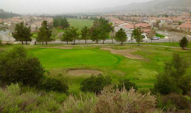 A view of a well protected hole at Yucaipa Valley Golf Club