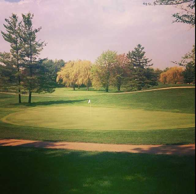 View of the 18th hole from the Old Course at Knollwood Golf Club