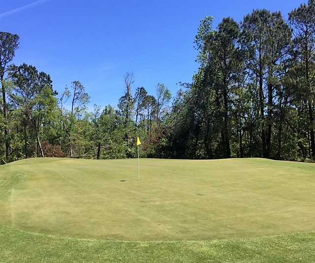A morning view of the 3rd green from Arthur Hills at Palmetto Hall Plantation