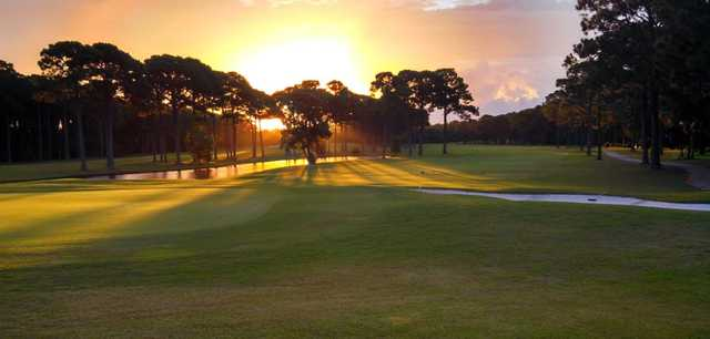 A sunny day view from Indian Bayou Golf & Country Club.