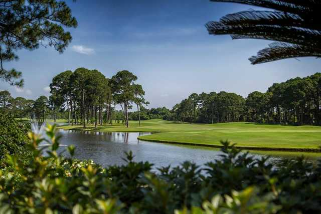 A view over the water from Indian Bayou Golf & Country Club.