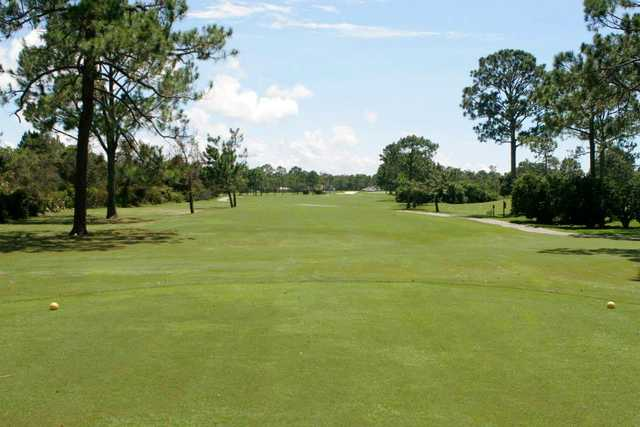 A view from a tee at Indian Bayou Golf & Country Club.