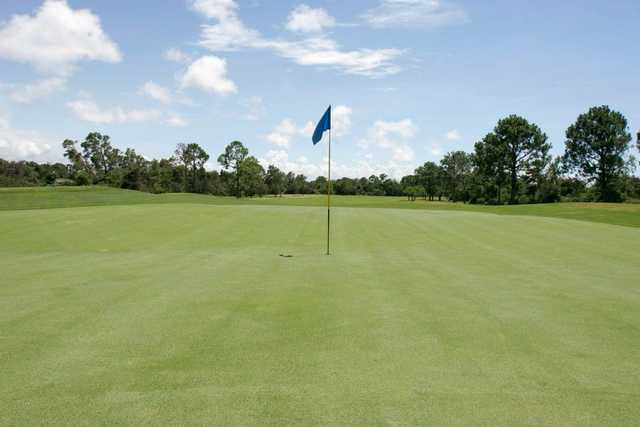 A view of a hole at Indian Bayou Golf & Country Club.