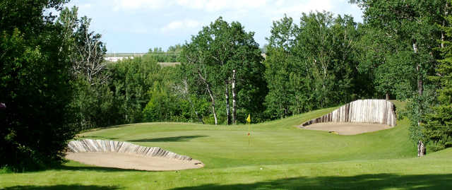 A view of a well protected hole at North Battleford Golf and Country Club.