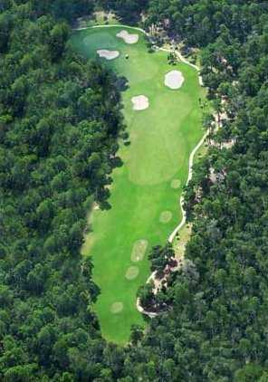 Aerial view of the 15th green at Halifax Plantation