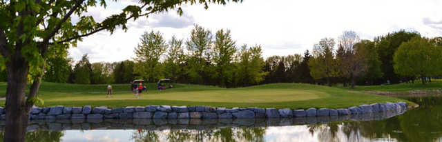 A view of green #17 at La Providence from Club de Golf La Providence.