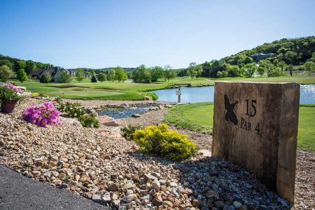A view from tee #15 sign at Old Kinderhook Golf Course.