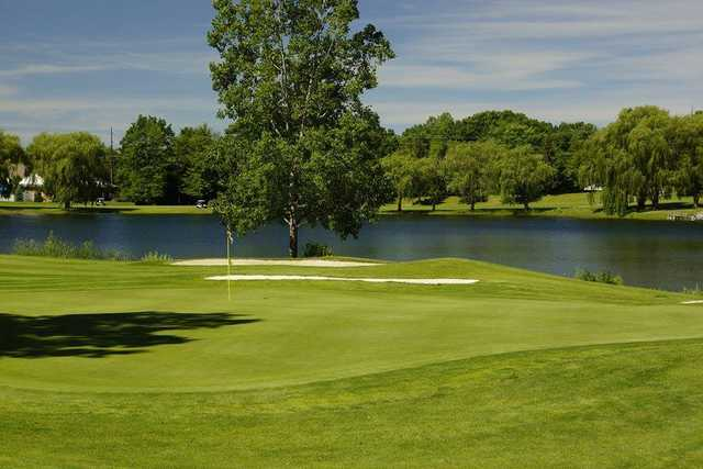 View of a green at Pine Knob Golf Club.