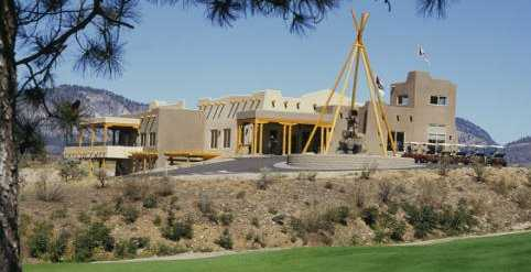 A view of the clubhouse at Nk'Mip Canyon Desert Golf Course.