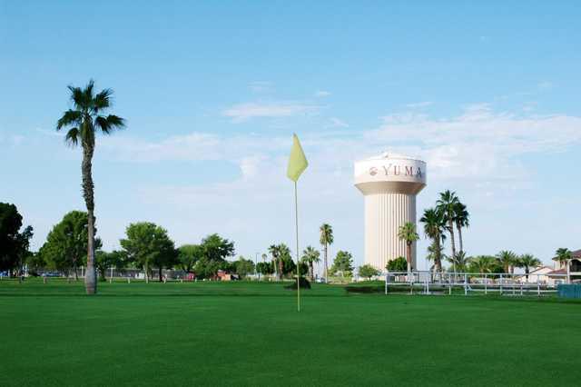 View from a green at Desert Hills Par-3 Golf Course