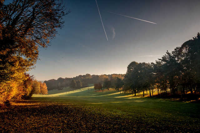 A fall day view of a fairway at Henley Golf Club