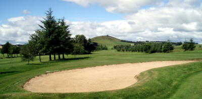A view of the 16th hole looking towards Dunnindeer at Insch Golf Club