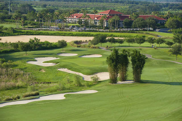 A view of the 9th fairway with clubhouse in background at Orange County National - Crooked Cat Course