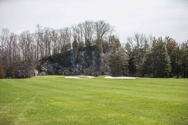 A view of a well protected hole at Great Gorge Golf Club