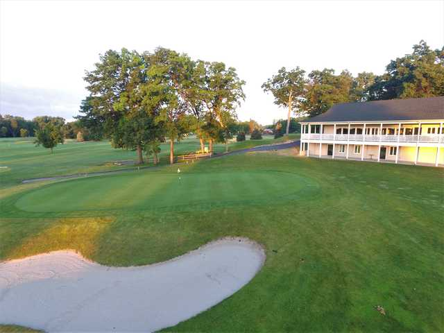 A view of a hole guarded by a tricky bunker at Bedford Hills Golf Club.