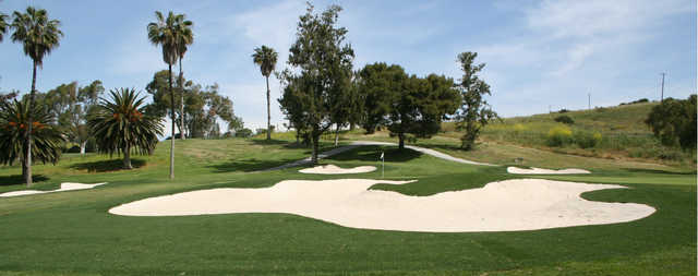 View of the bunkered green #3 at Regulation from Marine Memorial Golf Course.