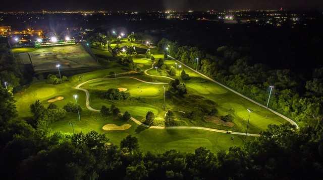 Aerial night view of Golf Center Des Plaines Par-3 Course