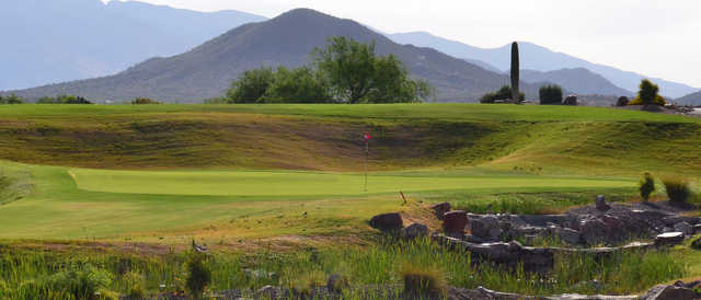 A sunny day view of a hole at del Lago Golf Club.