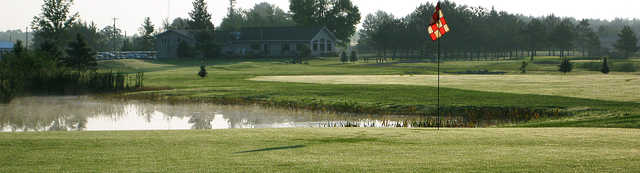 View of the clubhouse from a green at Fiddlestix Golf Course
