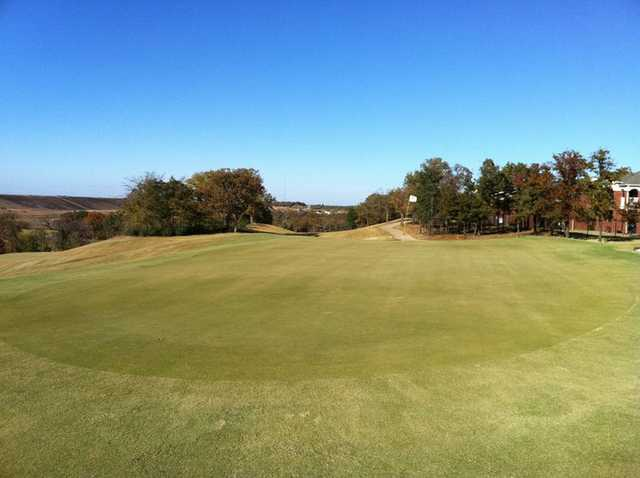 A view of the 9th green at The Timber Links at Denton