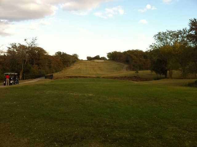 A view of the 2nd green at The Timber Links at Denton