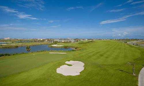 A view of the 5th green and fairway at Moody Gardens Golf Course