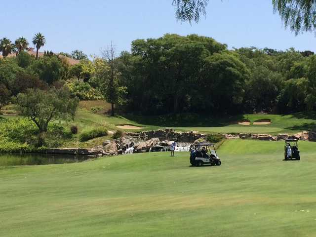 A view of a well protected green at Spanish Hills Golf & Country Club.