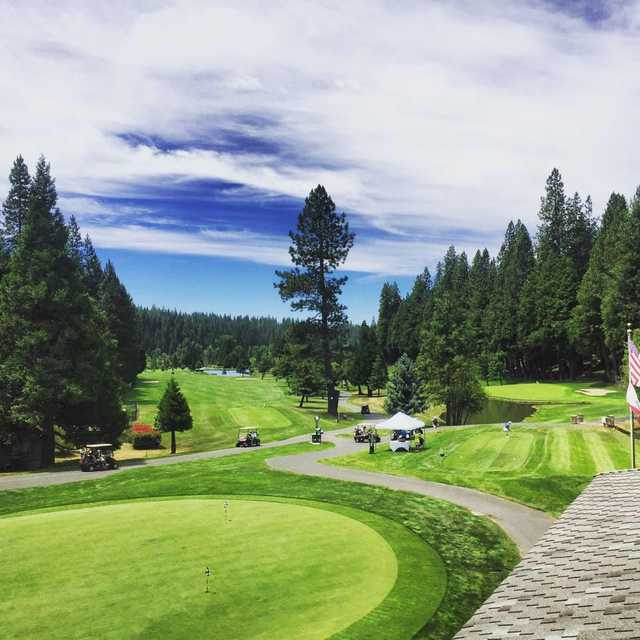 A view of the practice putting green at Sequoia Woods Country Club.