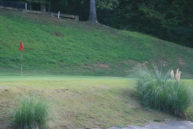 A view of green #14 at Shiloh Falls Golf Club.