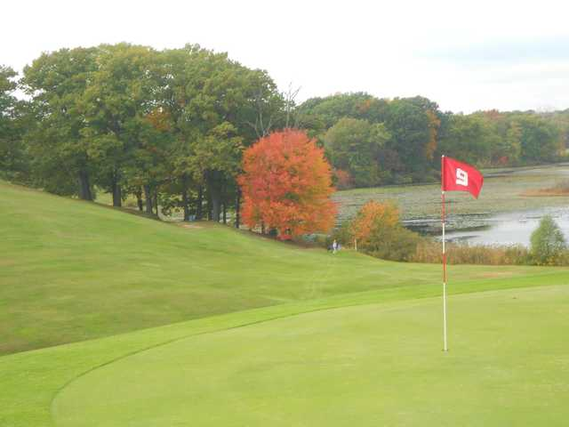 A view of the 9th green at Mink Lake Golf Course.